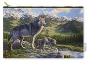 Wolf Painting - Passing It On Carry-all Pouch by Crista Forest