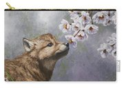 Wolf Pup - Baby Blossoms Carry-all Pouch by Crista Forest