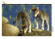 Wolf Pups - Anybody Home Carry-all Pouch by Crista Forest