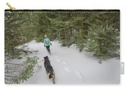 Woman And Dog Walking In Forest Carry-all Pouch