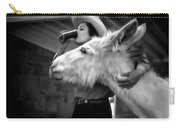 Woman And Donkey Black And White Carry-all Pouch