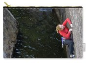 Woman Climbing Above A River Carry-all Pouch