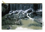 Woman Flyfishing Below Waterfall Carry-all Pouch