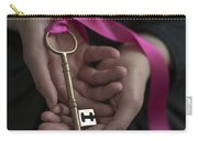 Woman Holding A Golden Key On A Pink Ribbon Carry-all Pouch