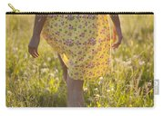 Woman In A Yellow Flowery Dress Walking In A Summer Meadow Carry-all Pouch