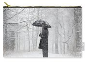 Woman In The Forest With An Umbrella Carry-all Pouch