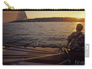 Woman On Sailboat Sunset Carry-all Pouch