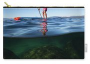 Woman Paddleboarding In The Lake, Lake Carry-all Pouch