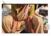 Woman Sifting In A Street Market India Carry-all Pouch