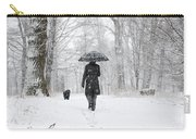 Woman Walking In A Snowy Forest Carry-all Pouch