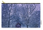 Woman Walking In Snow Carry-all Pouch by Amanda Elwell