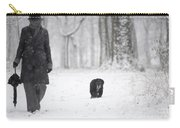 Woman Walking In The Snowy Forest Carry-all Pouch