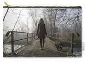 Woman Walking With Her Dog On A Bridge Carry-all Pouch
