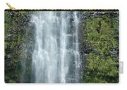 Woman With Umbrella At Wailua Falls Carry-all Pouch