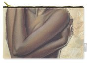 Woman With White Drape Crop Carry-all Pouch by Zorina Baldescu