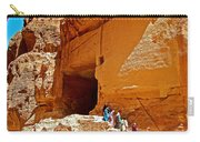 Women Leaving A Storage Place Near The Treasury In Petra-jordan Carry-all Pouch