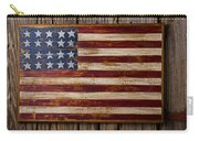 Wooden American Flag On Wood Wall Carry-all Pouch