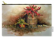 Wooden Barrel With Flowers Carry-all Pouch