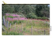 Wooden Fence And Pink Fireweed In Norway Carry-all Pouch