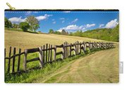Wooden Fence In Green Landscape Carry-all Pouch
