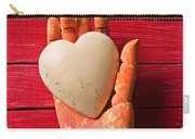 Wooden Hand With White Heart Carry-all Pouch by Garry Gay