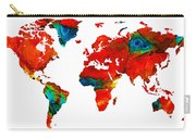 World Map 12 - Colorful Red Map By Sharon Cummings Carry-all Pouch
