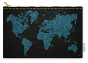 World Map Blue Vintage Fabric On Dark Leather Carry-all Pouch
