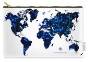 World Map In Blue Lights Carry-all Pouch