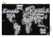 World Map In Text Neon Light Carry-all Pouch