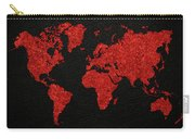 World Map Red Fabric On Dark Leather Carry-all Pouch
