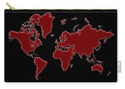 World Map Red Grid Carry-all Pouch