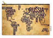 World Map Typography 6 Watercolor Painting Carry-all Pouch