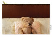 Worn Teddy Bear On Bed Carry-all Pouch