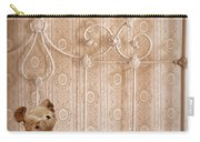 Worn Teddy Bear On Brass Bed Carry-all Pouch