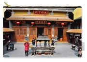 Worshipers In Urn Courtyard Of Chinese Temple Shanghai China Carry-all Pouch