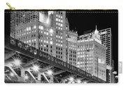 Wrigley Building At Night In Black And White Carry-all Pouch