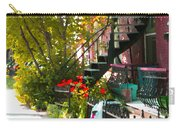 Wrought Iron Fence Balcony And Staircases Verdun Stairs Summer Scenes Carole Spandau  Carry-all Pouch
