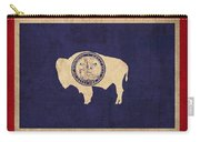 Wyoming State Flag Art On Worn Canvas Carry-all Pouch