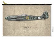 Yellow 10 Focke-wulf Fw190d - Map Background Carry-all Pouch
