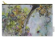 Yellow Blossoms Painting Flowr Butterflies Art Abstract Modern Spring Color Flower Art Carry-all Pouch