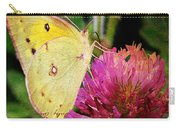 Yellow Butterfly On Pink Clover Carry-all Pouch