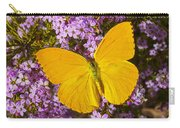 Yellow Butterfly On Pink Flowers Carry-all Pouch