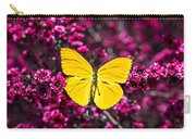 Yellow Butterfly On Red Flowering Bush Carry-all Pouch