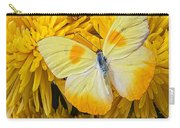 Yellow Butterfly On Yellow Mums Carry-all Pouch