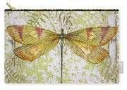 Yellow Dragonfly On Vintage Tin Carry-all Pouch
