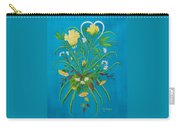 Yellow Floral Enchantment In Turquoise Carry-all Pouch