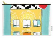 Yellow Flower House Carry-all Pouch by Linda Woods
