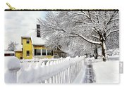 Yellow House With Snow Covered Picket Fence Carry-all Pouch