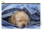 Yellow Labrador Puppy Asleep In Jeans Carry-all Pouch