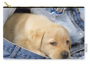 Yellow Labrador Puppy In Jeans Carry-all Pouch